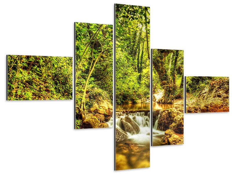 Aluminiumbild 5-teilig modern Wasserfall im Wald