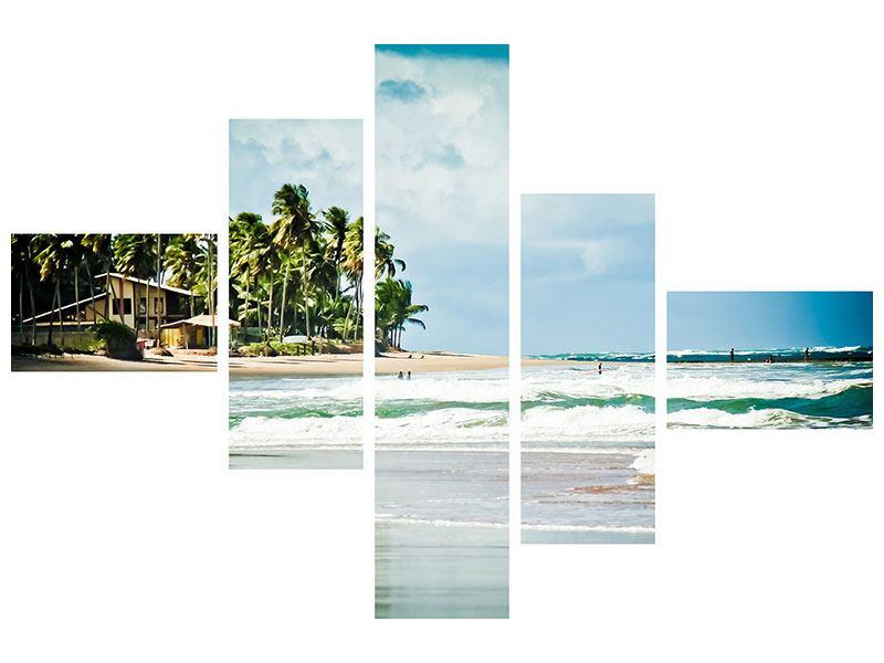 Aluminiumbild 5-teilig modern The Beach