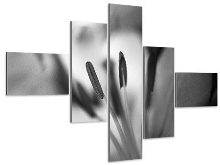 Aluminiumbild 5-teilig modern Makro Lilienblatt