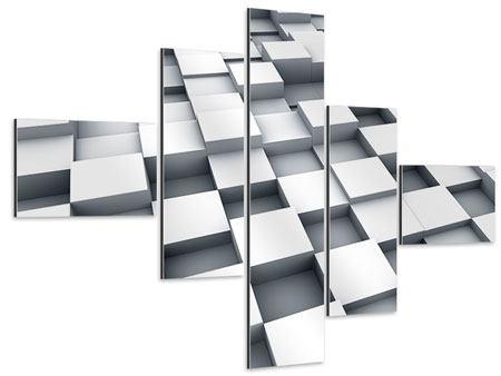Aluminiumbild 5-teilig modern 3D-Kubus