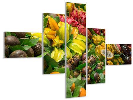 Aluminiumbild 5-teilig modern Früchte