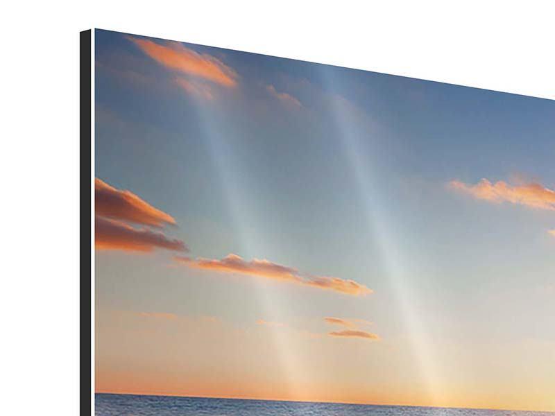 Aluminiumbild 5-teilig modern Sonnenuntergang am Horizont