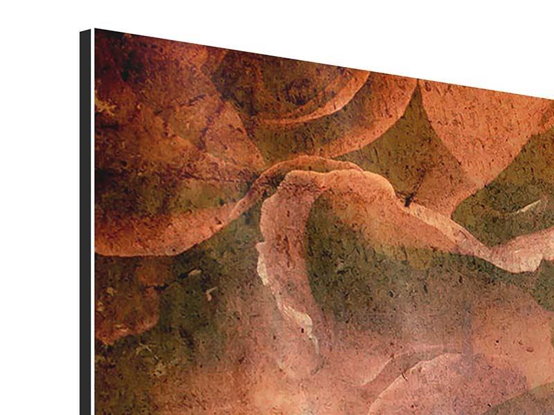Aluminiumbild 5-teilig modern Rosenbukett