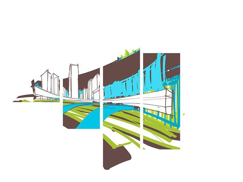 Aluminiumbild 5-teilig modern Graffiti Street-Art