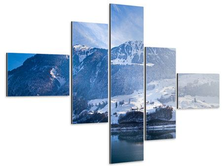 Aluminiumbild 5-teilig modern Winterwunderland