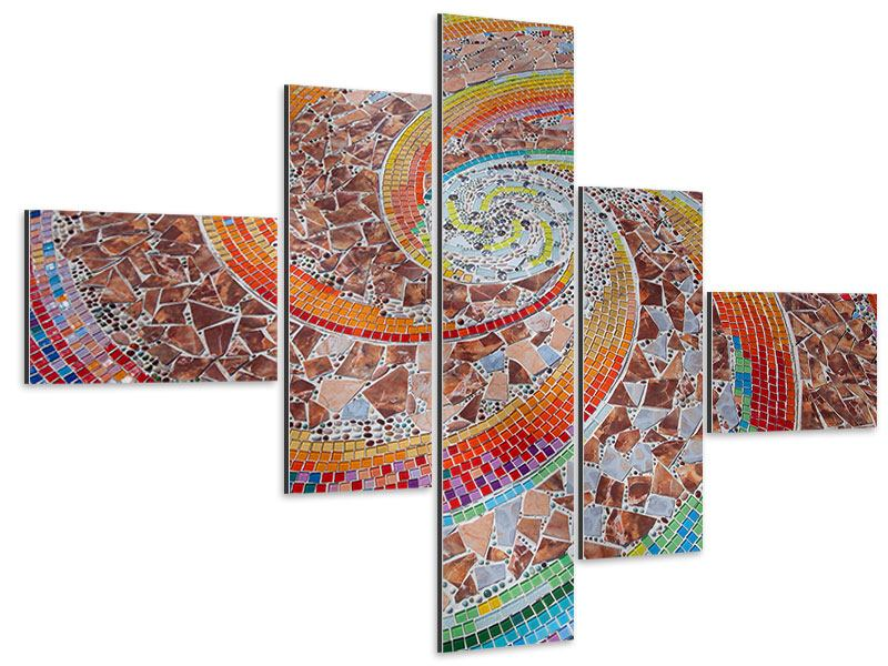 Aluminiumbild 5-teilig modern Mosaik