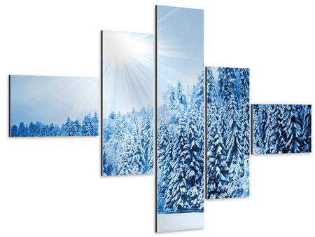 Aluminiumbild 5-teilig modern Wintermärchen