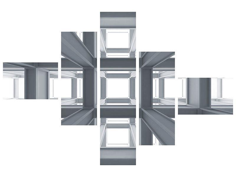 Aluminiumbild 5-teilig modern Räume