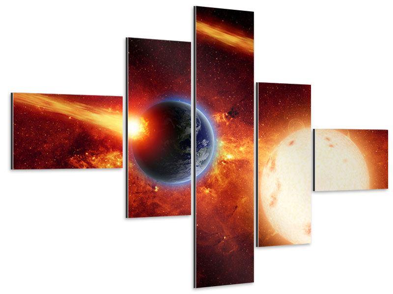 Aluminiumbild 5-teilig modern Der Kosmos
