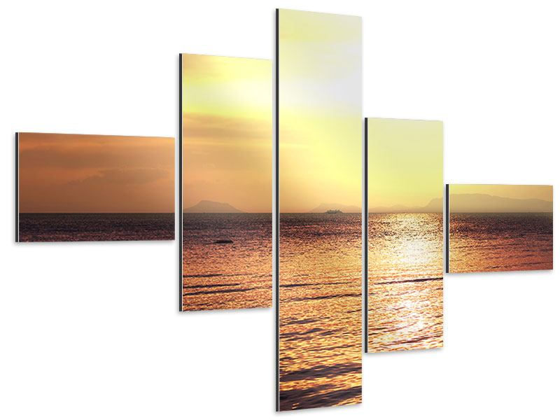 Aluminiumbild 5-teilig modern Sonnenuntergang an der See