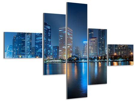Aluminiumbild 5-teilig modern Skyline Bangkok bei Nacht