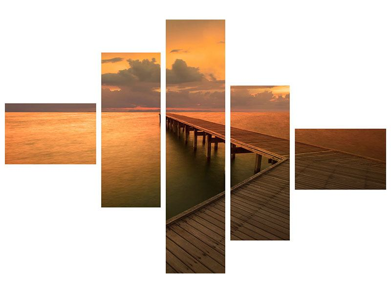 Aluminiumbild 5-teilig modern Der Steg am Meer