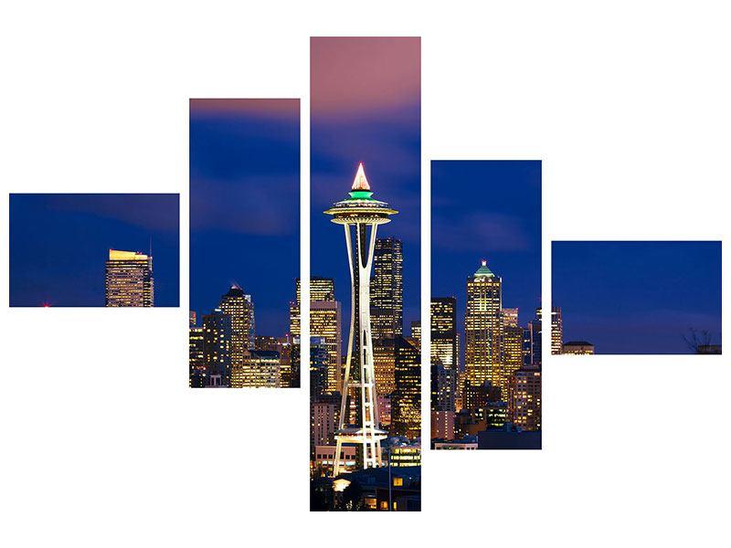 Aluminiumbild 5-teilig modern Skyline Seattle