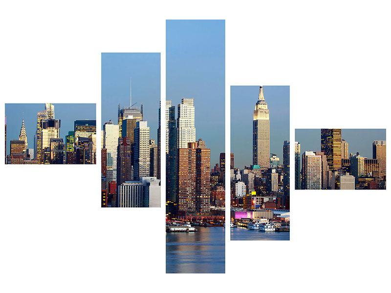 Aluminiumbild 5-teilig modern Skyline Midtown Manhattan