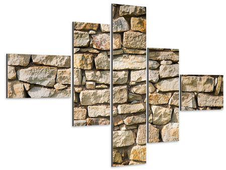 Aluminiumbild 5-teilig modern Natursteine