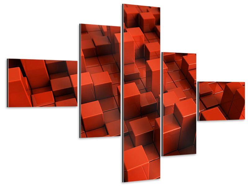 Aluminiumbild 5-teilig modern 3D-Rechtkant