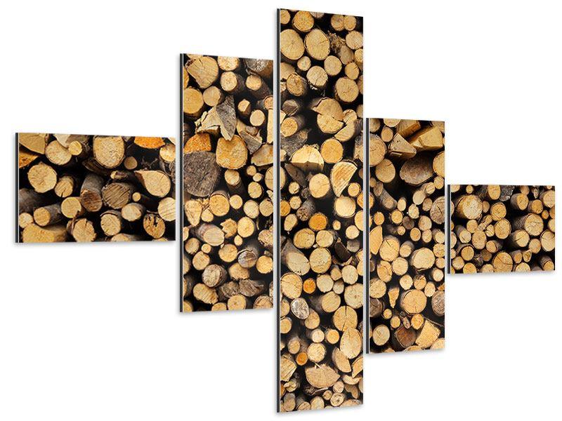 Aluminiumbild 5-teilig modern Brennholz