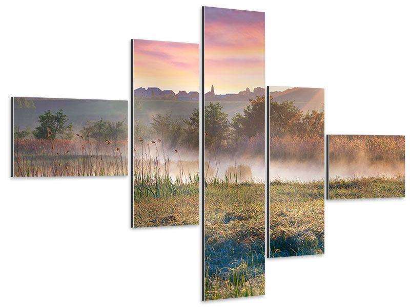 Aluminiumbild 5-teilig modern Sonnenuntergang am Hügel