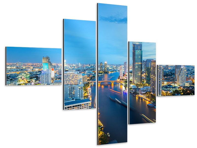 Aluminiumbild 5-teilig modern Skyline Bangkok in der Abenddämmerung