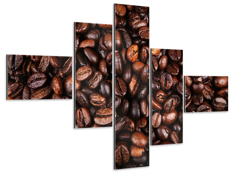 Aluminiumbild 5-teilig modern Kaffeebohnen in XXL
