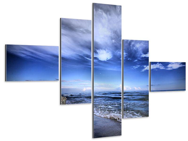 Aluminiumbild 5-teilig modern Strandwellen