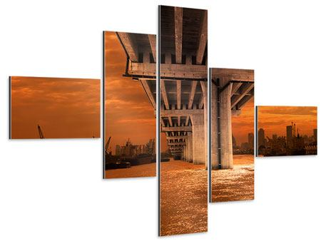 Aluminiumbild 5-teilig modern Die Brücke