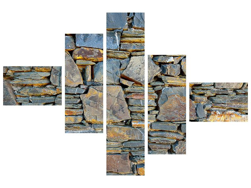 Aluminiumbild 5-teilig modern Natürliche Steinmauer