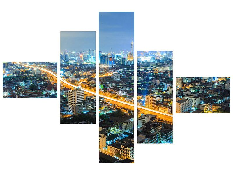 Aluminiumbild 5-teilig modern Skyline Bangkok im Fieber der Nacht