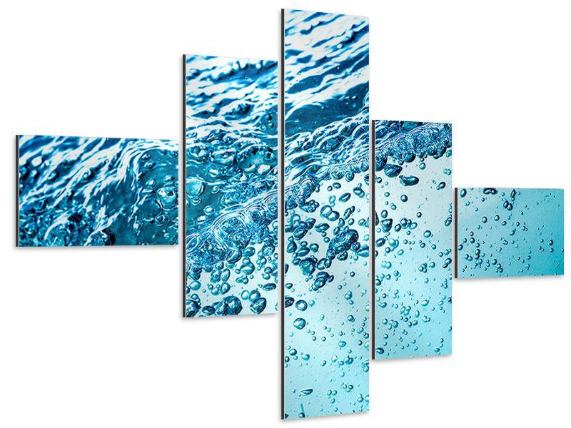 Aluminiumbild 5-teilig modern Wasser in Bewegung