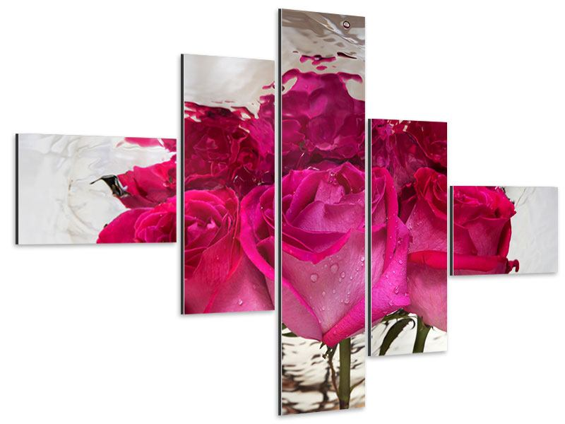Aluminiumbild 5-teilig modern Die Rosenspiegelung