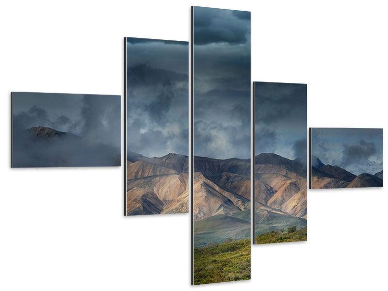 Aluminiumbild 5-teilig modern Silberstreifen