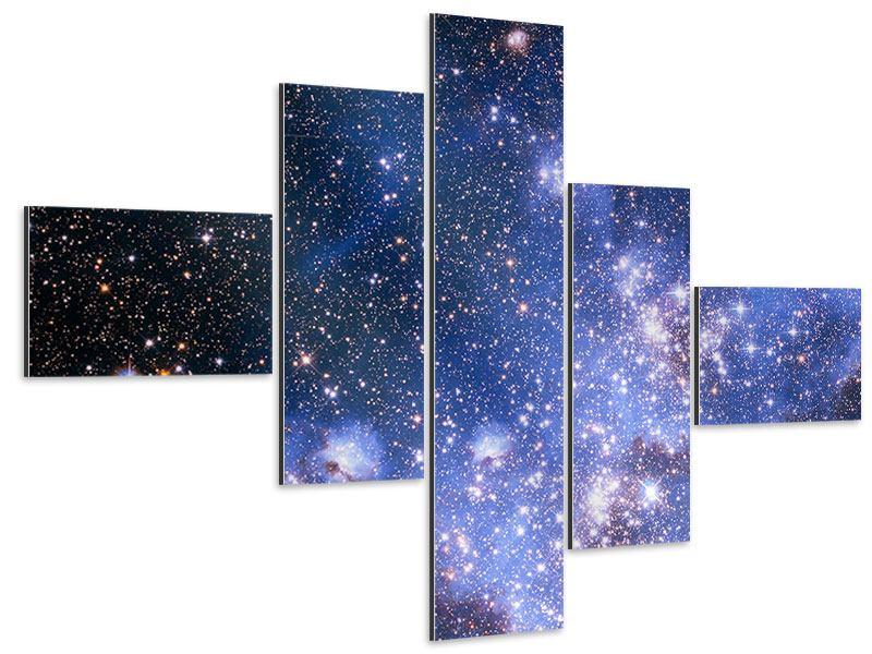 Aluminiumbild 5-teilig modern Sternenhimmel