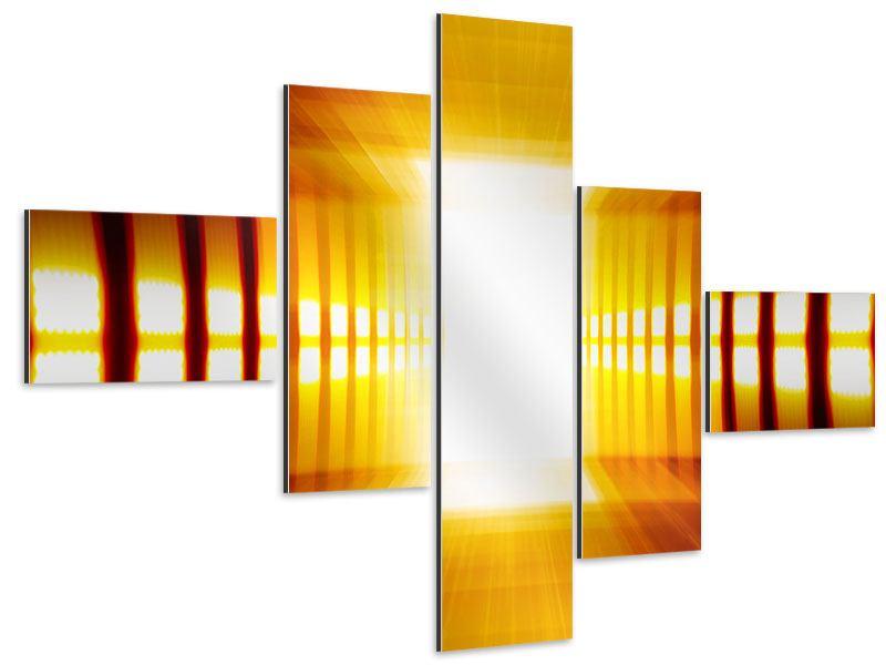 Aluminiumbild 5-teilig modern Abstrakter Goldener Raum