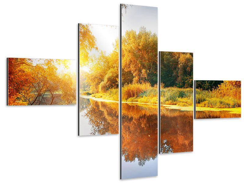 Aluminiumbild 5-teilig modern Waldspiegelung im Wasser