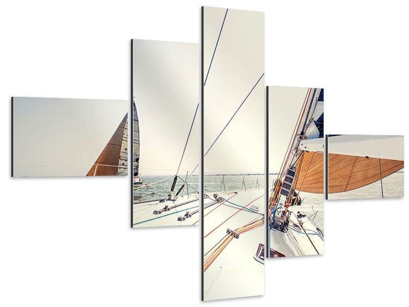 Aluminiumbild 5-teilig modern Segelyacht