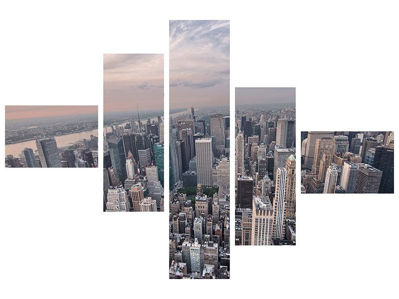 Aluminiumbild 5-teilig modern Skyline Blick über Manhattan
