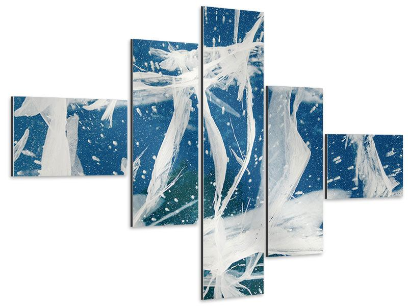 Aluminiumbild 5-teilig modern Eiskristalle