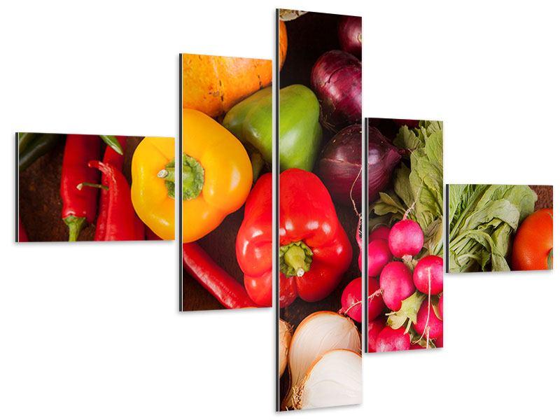 Aluminiumbild 5-teilig modern Gemüsefrische