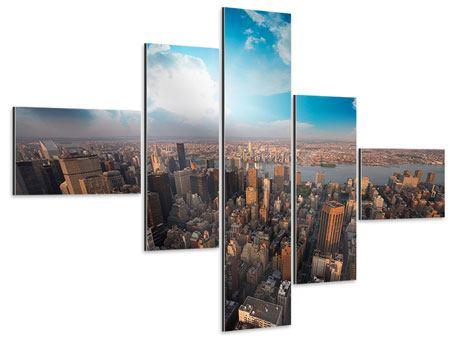Aluminiumbild 5-teilig modern Skyline Über den Dächern von Manhattan