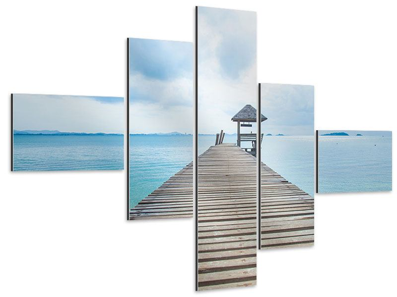 Aluminiumbild 5-teilig modern Ozean-Steg