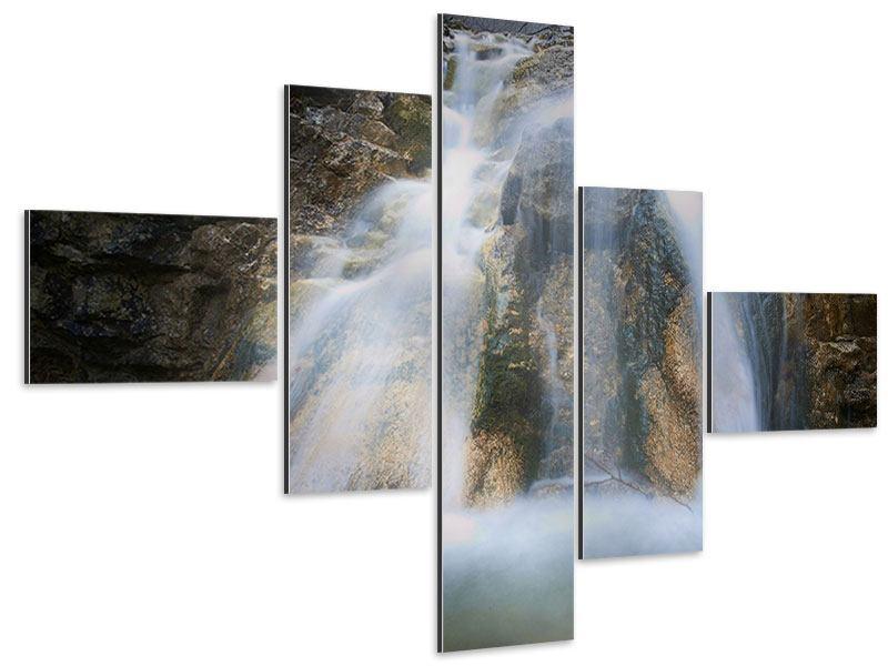 Aluminiumbild 5-teilig modern Imposanter Wasserfall