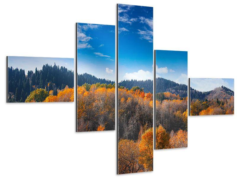 Aluminiumbild 5-teilig modern Wolken ziehen auf