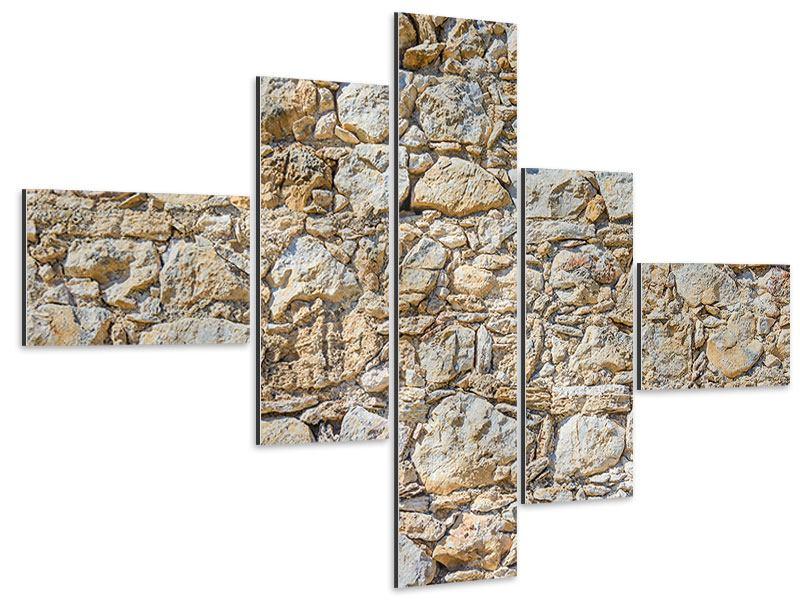 Aluminiumbild 5-teilig modern Sandsteinmauer
