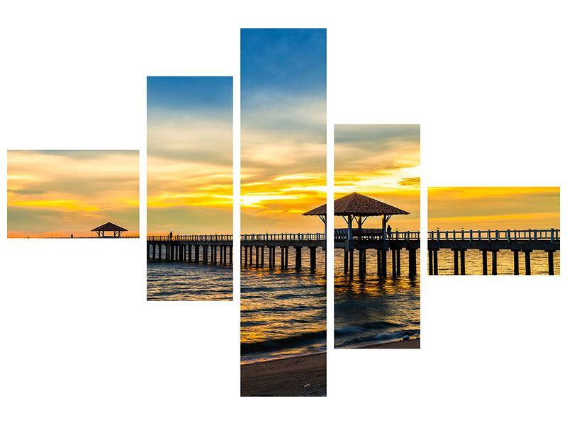 Aluminiumbild 5-teilig modern Brücke der Liebe