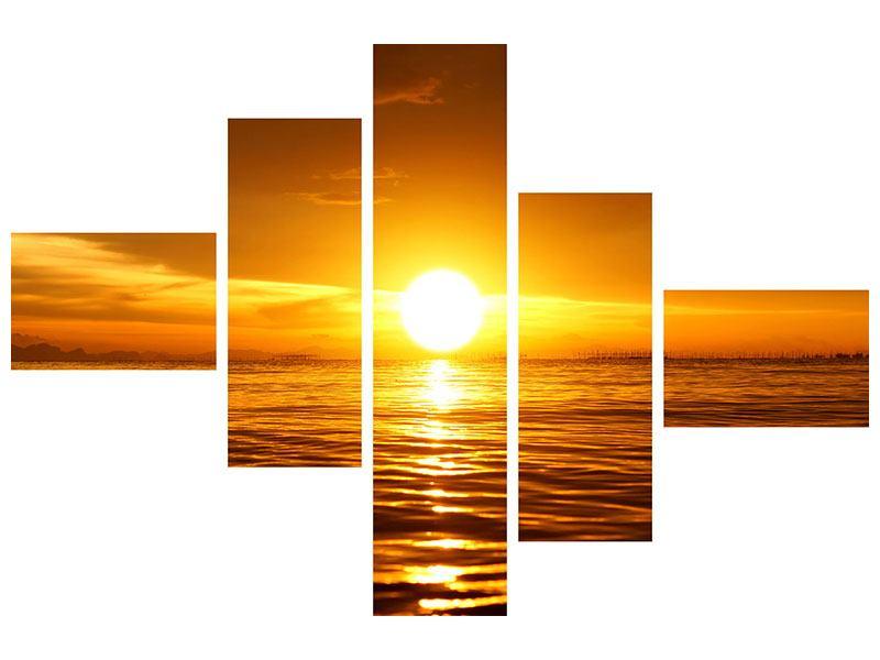 Aluminiumbild 5-teilig modern Glühender Sonnenuntergang am Wasser