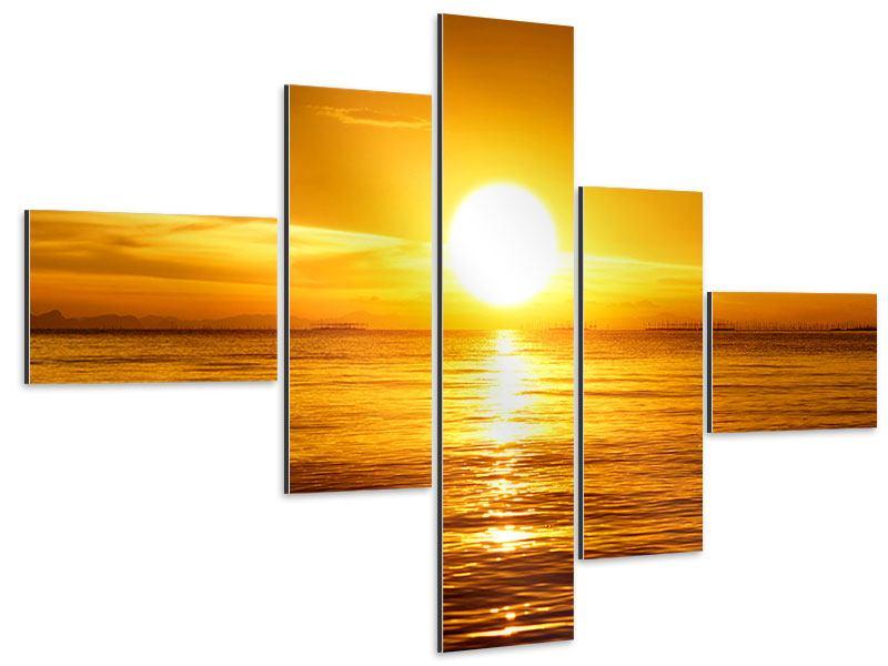 Aluminiumbild 5-teilig modern Traumhafter Sonnenuntergang