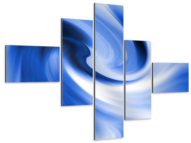 Aluminiumbild 5-teilig modern Abstrakte blaue Welle