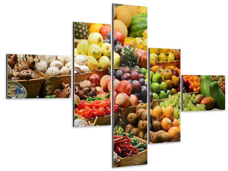 Aluminiumbild 5-teilig modern Obstmarkt