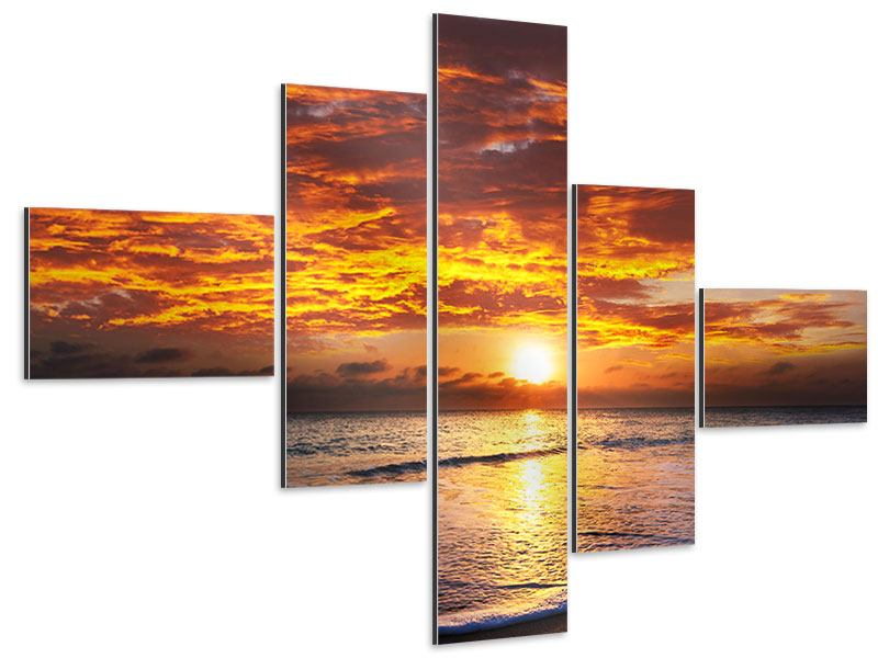 Aluminiumbild 5-teilig modern Entspannung am Meer
