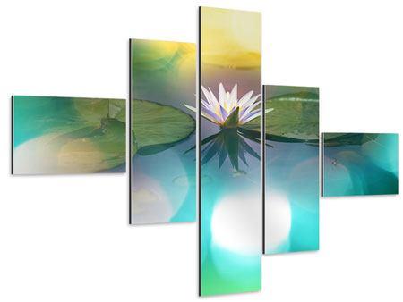 Aluminiumbild 5-teilig modern Lotus-Spiegelung